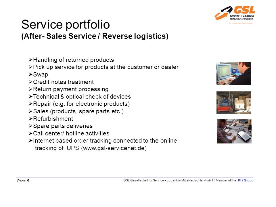 Service portfolio (After- Sales Service / Reverse logistics)