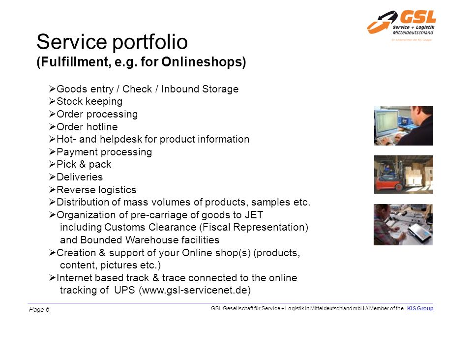 Service portfolio (Fulfillment, e.g. for Onlineshops)