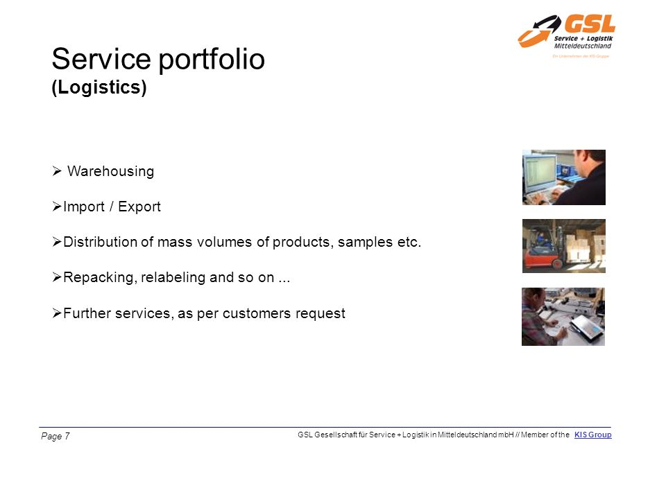 Service portfolio (Logistics) Warehousing Import / Export