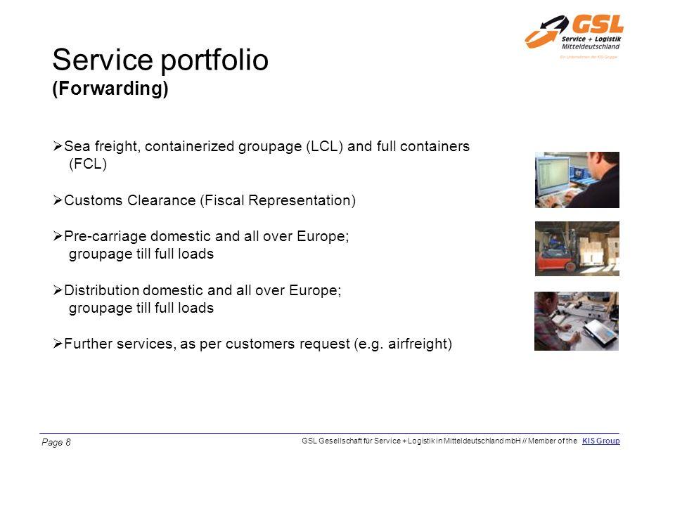 Service portfolio (Forwarding)