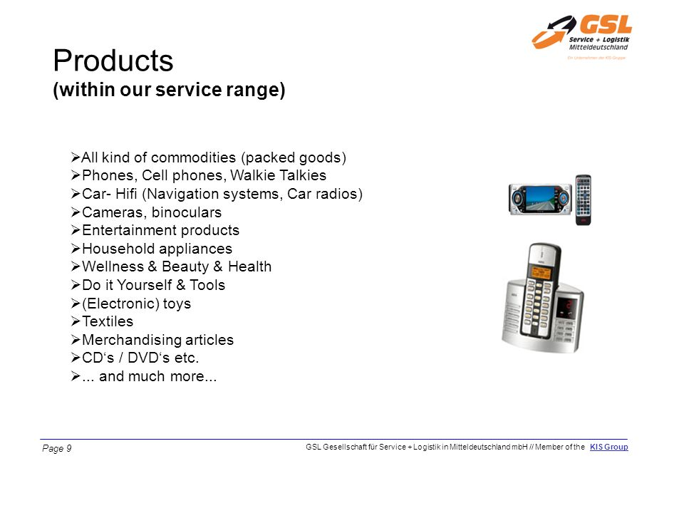 Products (within our service range)