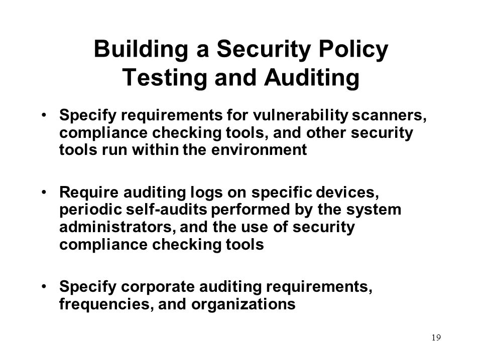 security audit policy To implement the security control requirements for the audit and accountability (au) control family, as identified in national institute of standards and technology (nist) special.