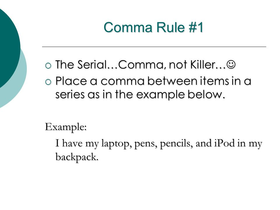 Comma Rules! By Lynn McClelland - ppt video online download