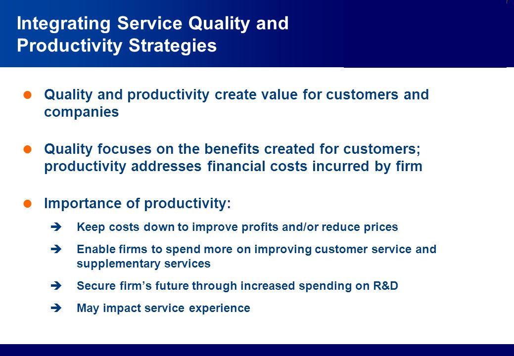 productivity and quality This unique improving productivity through quality enhancement & cost reduction training course covers critical areas of productivity and quality.