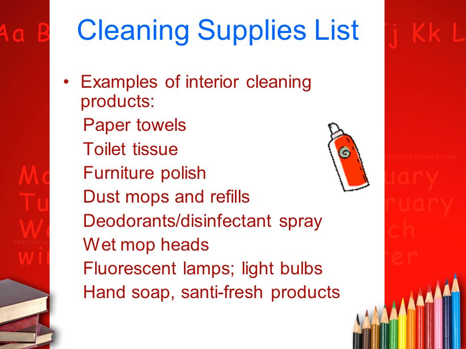 cleaning supplies list