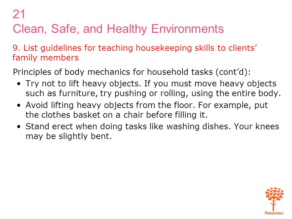 list guidelines for teaching housekeeping skills to clients family members