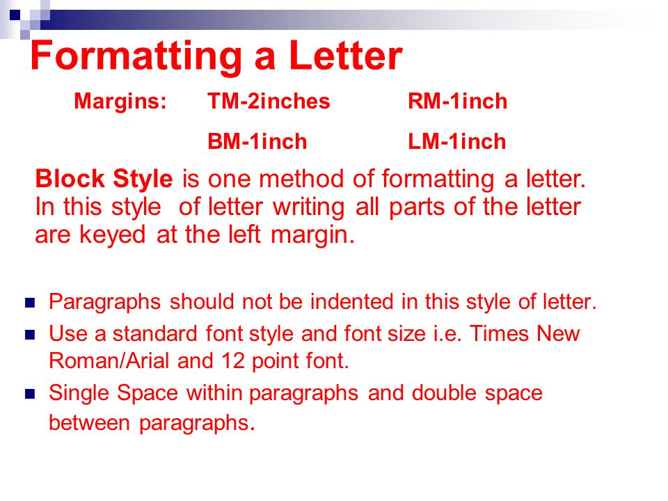 Apply Correct Letter Formats Ppt Download