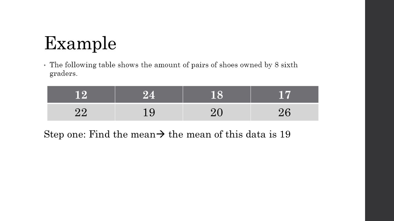 Mean absolute deviation mad ppt video online download for Table 6 3 gives the mean distance
