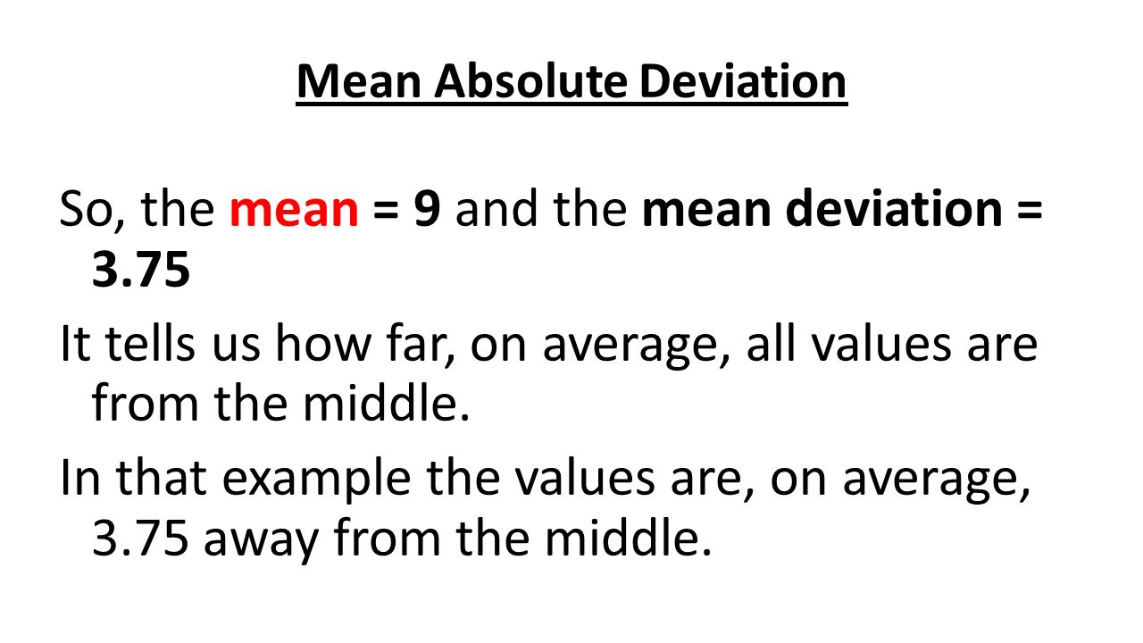 how to get mean absolute deviation