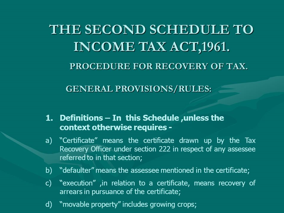 procedure for recovery of tax