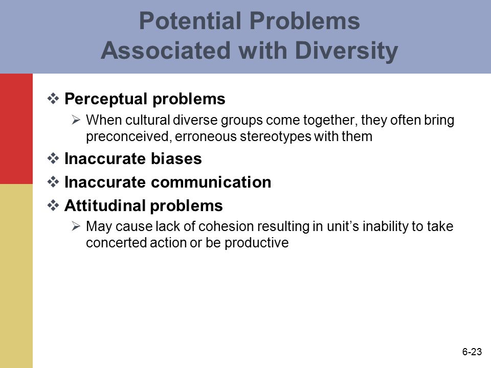 potential problems when using multicultural diverse Solutions for chapter 6 problem 5rdq problem 5rdq: what are some potential problems that must be overcome when using multicultural, diverse teams in today's organizations what are some recognized advantages identify and discuss two of each 249 step-by-step solutions solved by professors & experts.