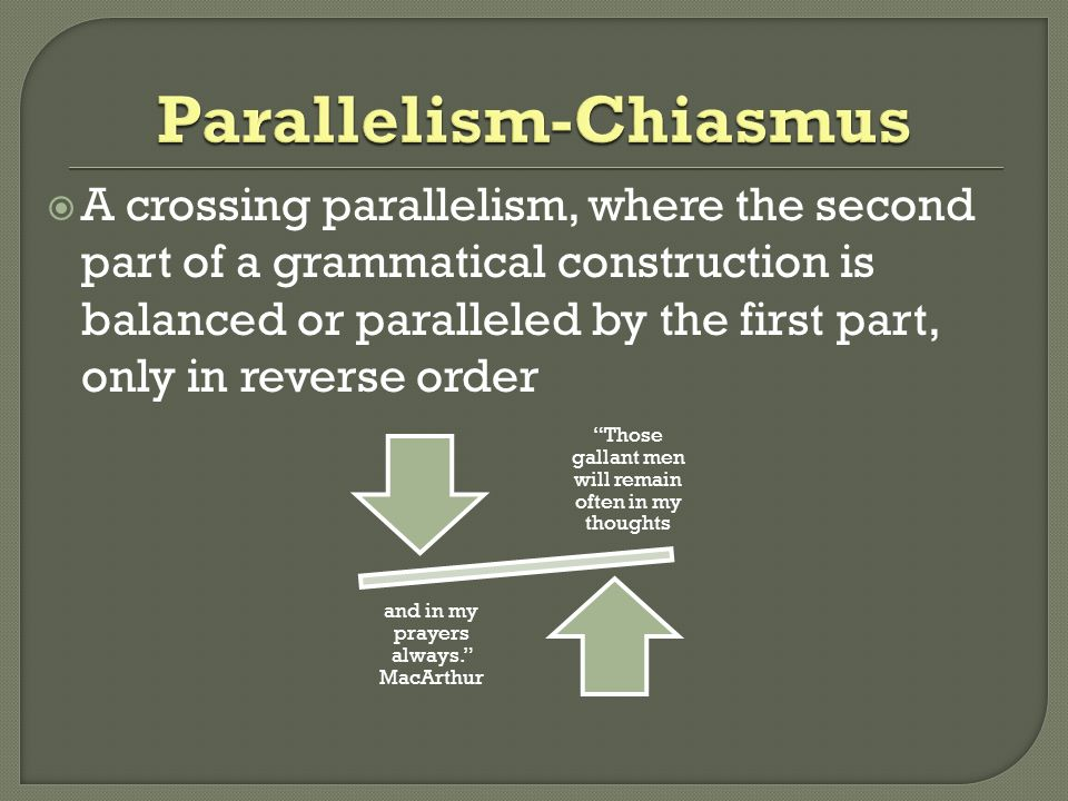 parallelism chiasmus antithesis Chiasmus, parallelism, antimetabole, and antithesis parallelism parallelism - the use of components in a sentence that are grammatically the same or similar in their construction, sound, meaning or meter.