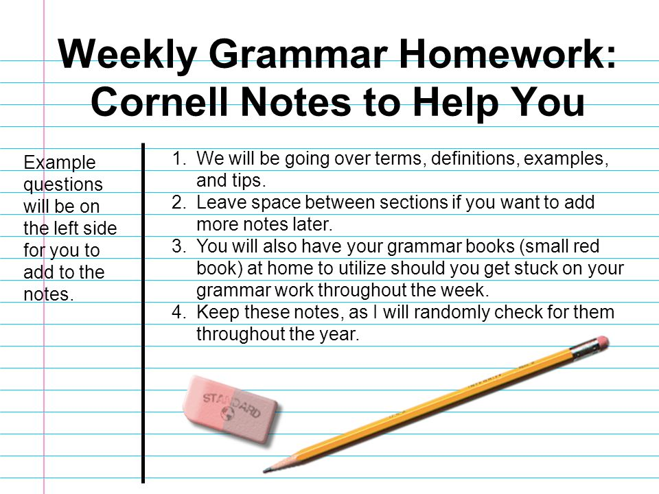 Weekly Grammar Homework: Cornell Notes to Help You - ppt video ...
