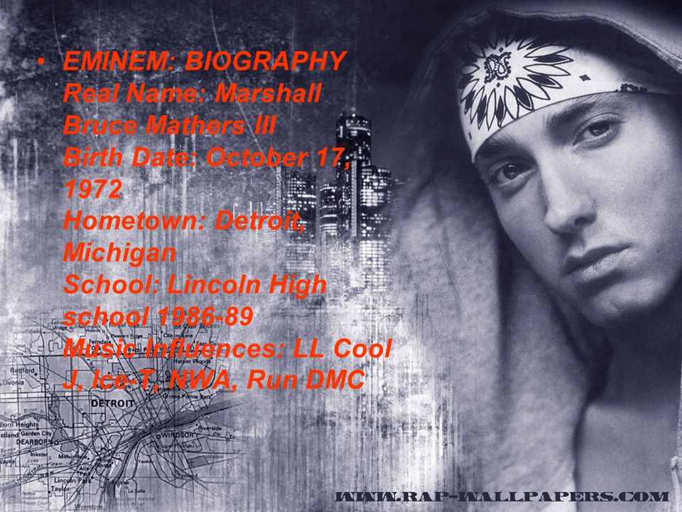 marshall bruce mathers eminem biography Horoscope and astrology data of eminem born on 17 october 1972 saint joseph , missouri, with  birthname, marshall bruce mathers, iii born.