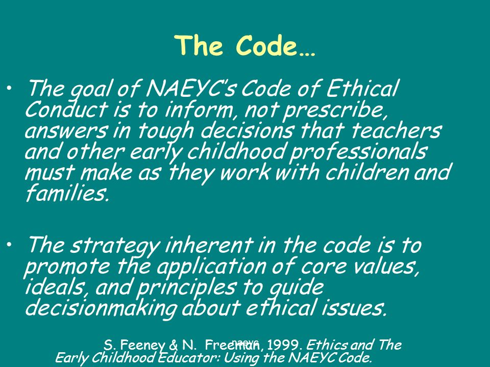 Early Childhood Educators Code of Ethics