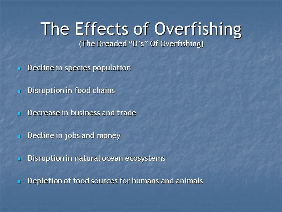 impacts of overfishing on fisheries Overfishing, typically, leads to a decline in the population of productive fish,  which results in lesser stocking of the fish if overfishing is curtailed,.
