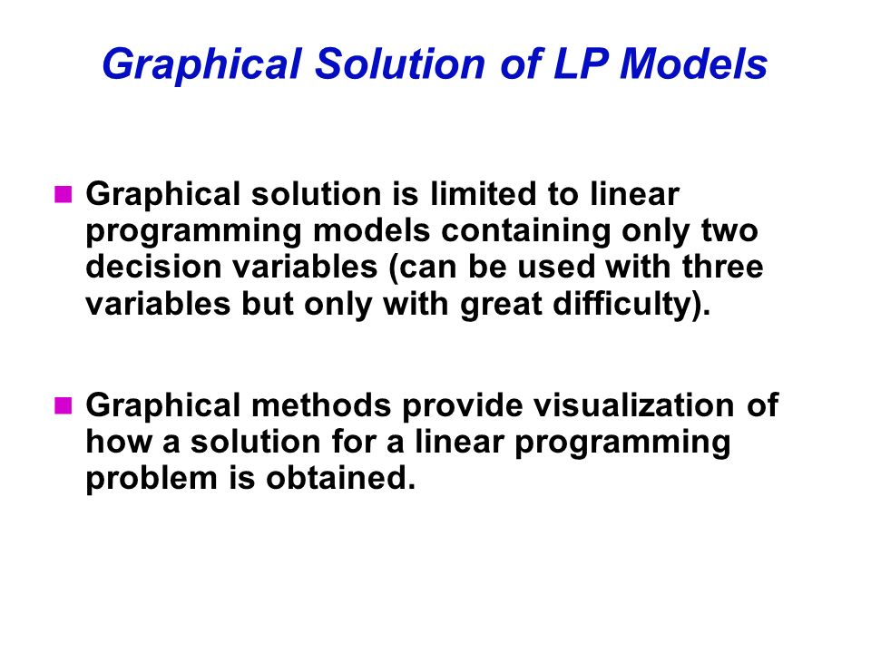 graphical and computer based methods of solving lp problems differ Using the graphical method to solve linear programs ability of a computer the steps in solving an lp problem graphically are introduced.