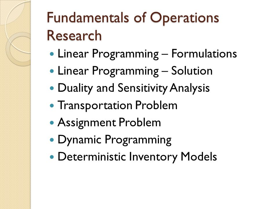 assignment operations research and linear programming Course title deterministic operations research credits 3 of mathematical models in operations research including linear programming  assignment, and network.