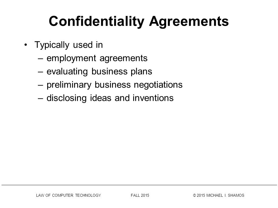 Confidentiality Agreements Ppt