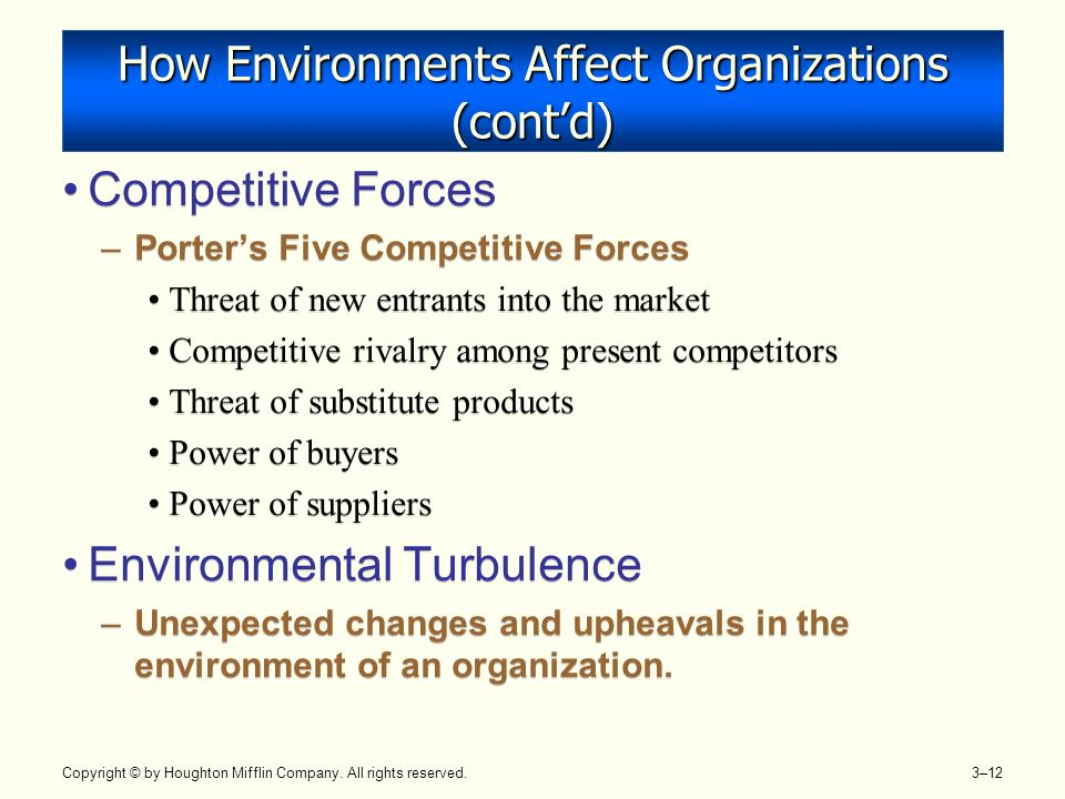 how changes in the environment affect organizations environment essay Environmental factors that affect business refer to the physical environment   this can include things like consumer health, climate change, the.