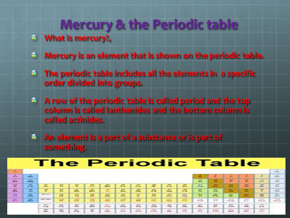 Mercury by kris kalathas ppt video online download 2 mercury the periodic table urtaz Images