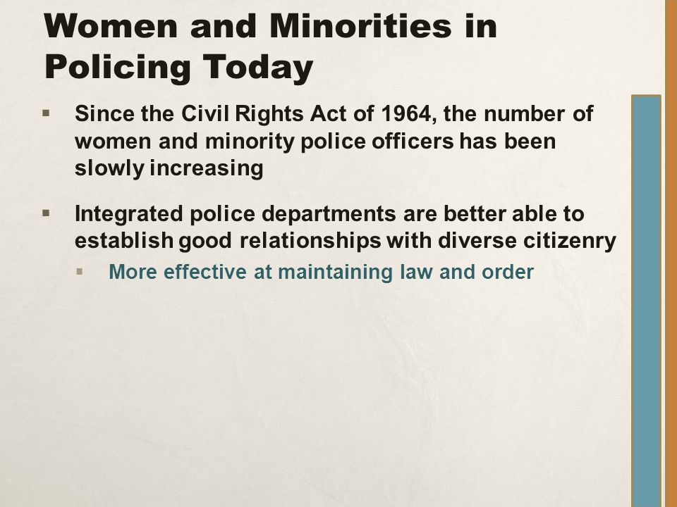 women and minorities in law enforcement essay Law enforcement - part 2 we will write a cheap essay sample on law enforcement specifically for you for only $1290/page women and minorities in law.
