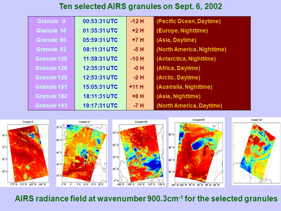 Ten selected AIRS granules on Sept. 6, 2002