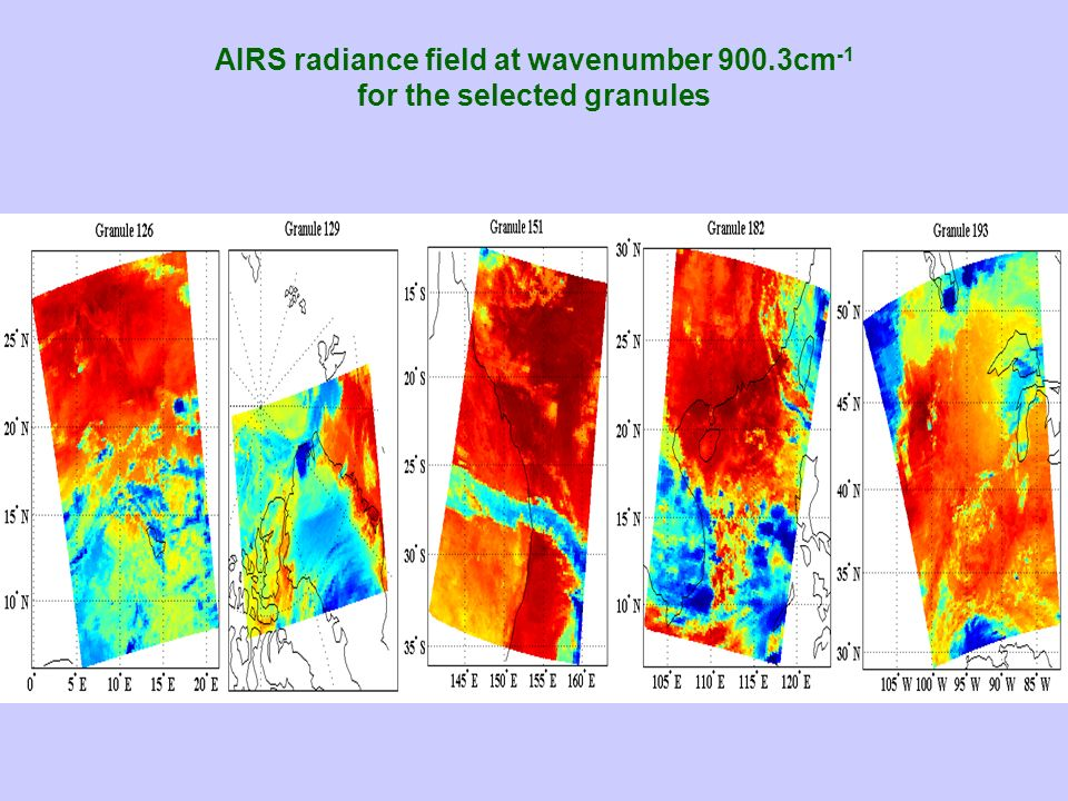 AIRS radiance field at wavenumber 900.3cm-1 for the selected granules