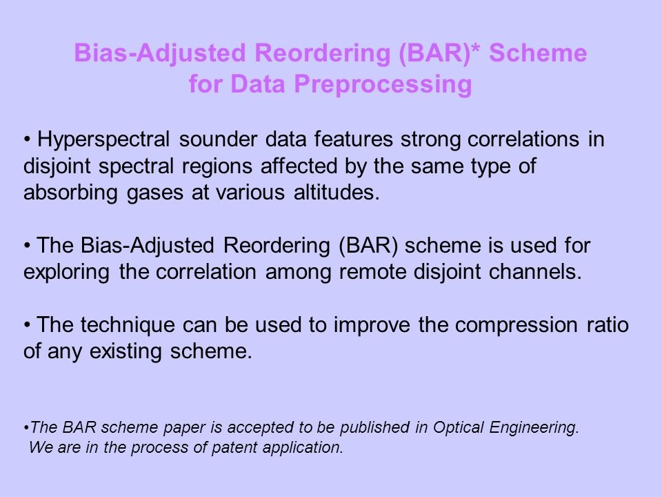 Bias-Adjusted Reordering (BAR)* Scheme for Data Preprocessing