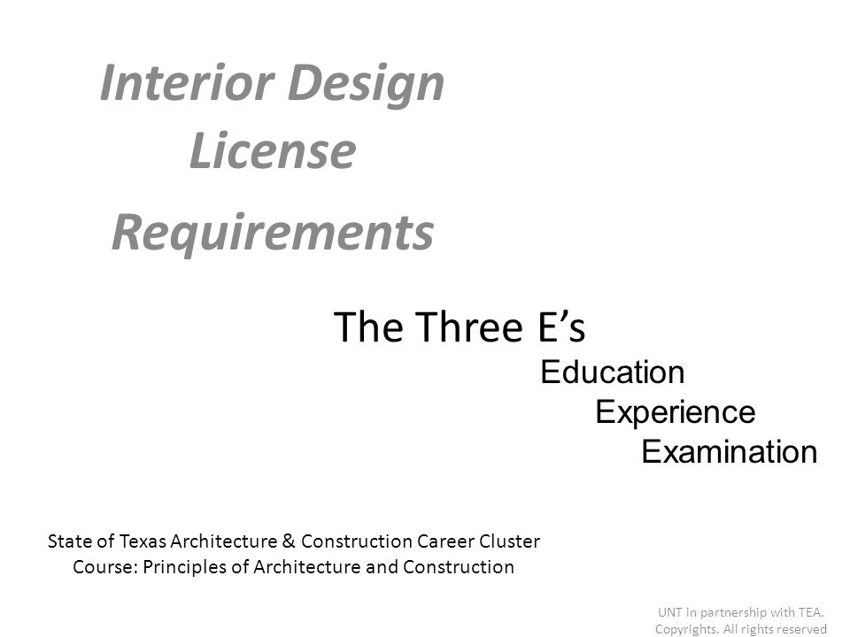 Interior design license requirements ppt video online for Interior design license