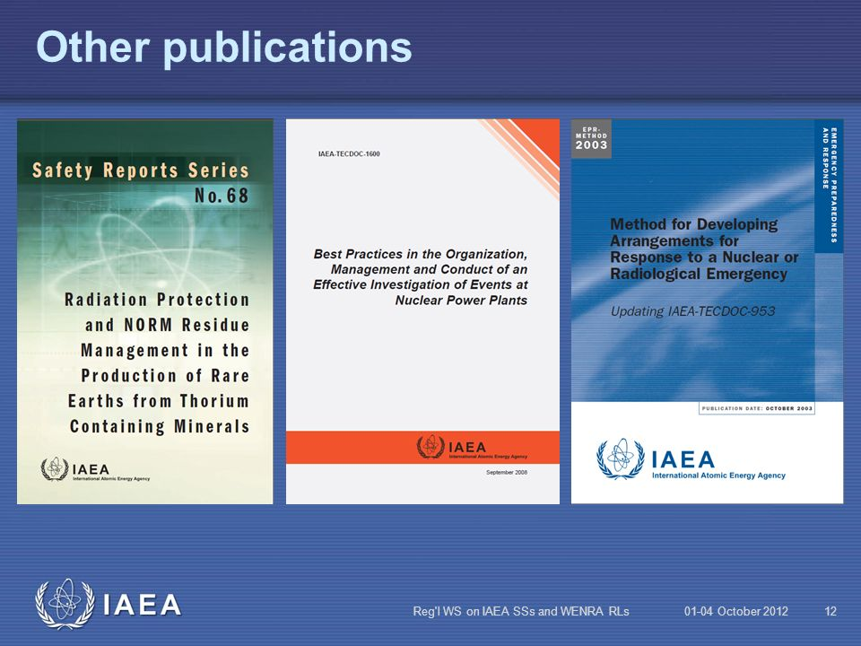 Other publications Reg l WS on IAEA SSs and WENRA RLs