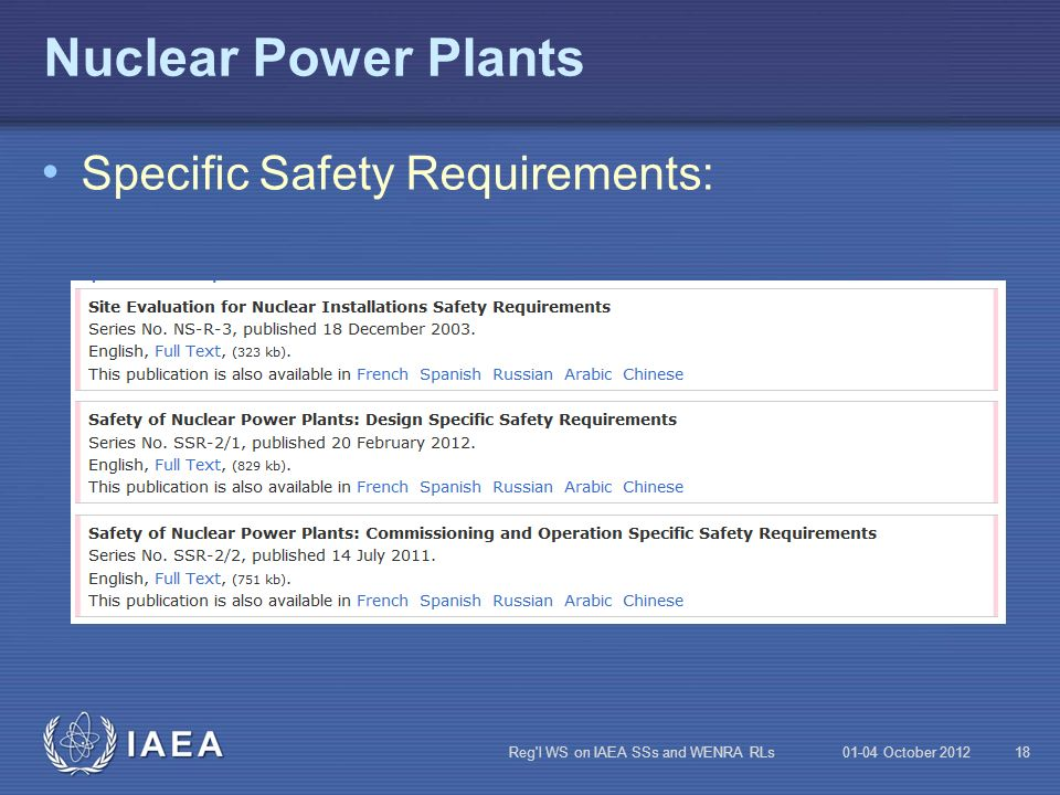 Nuclear Power Plants Specific Safety Requirements: