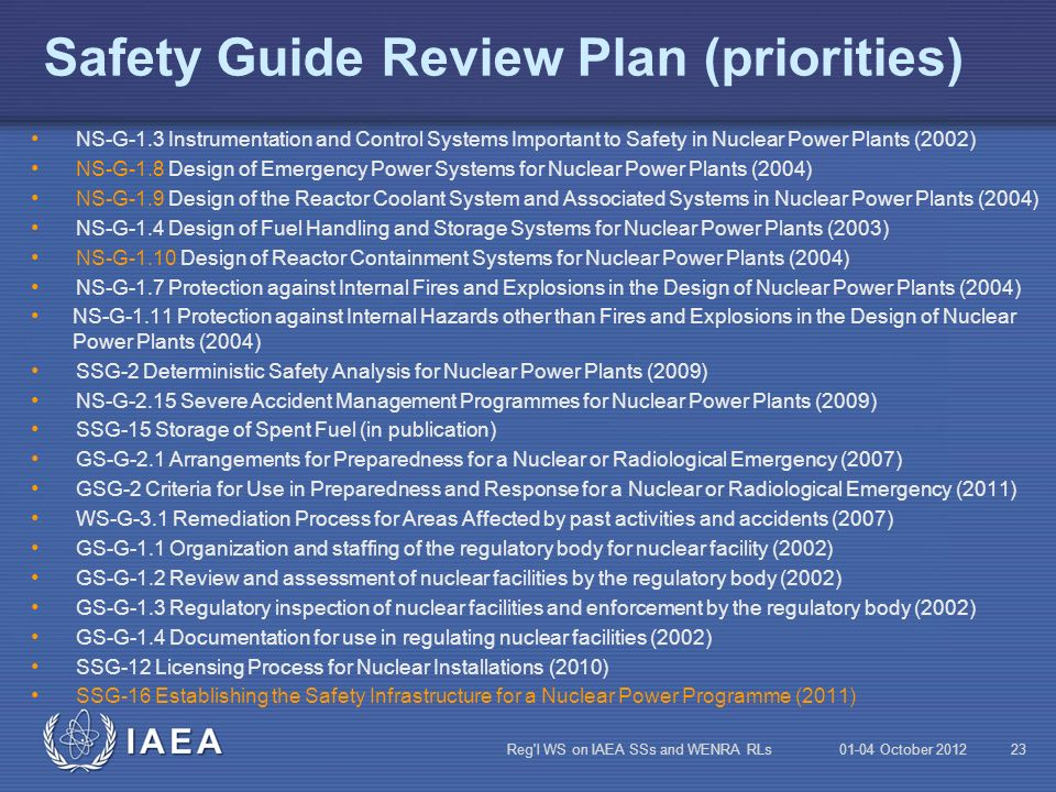 Safety Guide Review Plan (priorities)