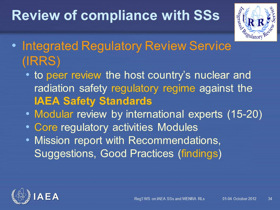 Review of compliance with SSs