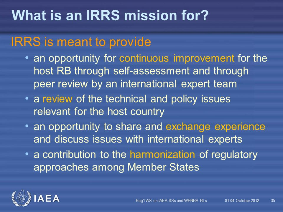 What is an IRRS mission for