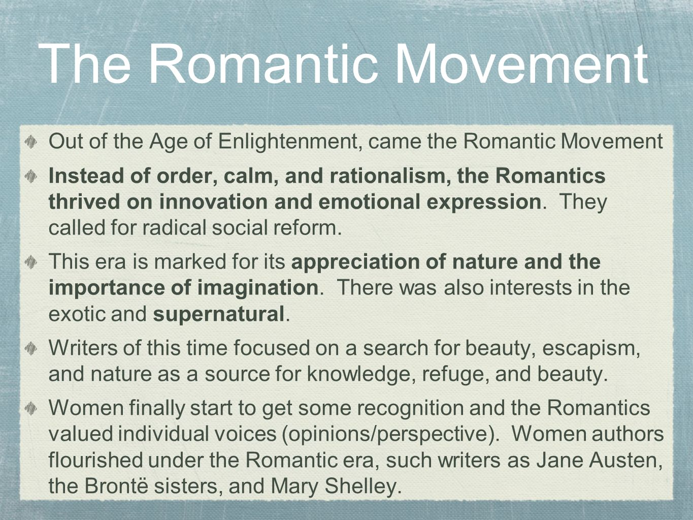 the romantic era and its goals Free college essay the romantic era and its goals in the late eighteenth century the european population began a radical philosophical revolution, later known as the romantic movement.