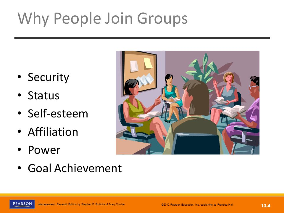 Why People Join Groups Security Status Self-esteem Affiliation Power