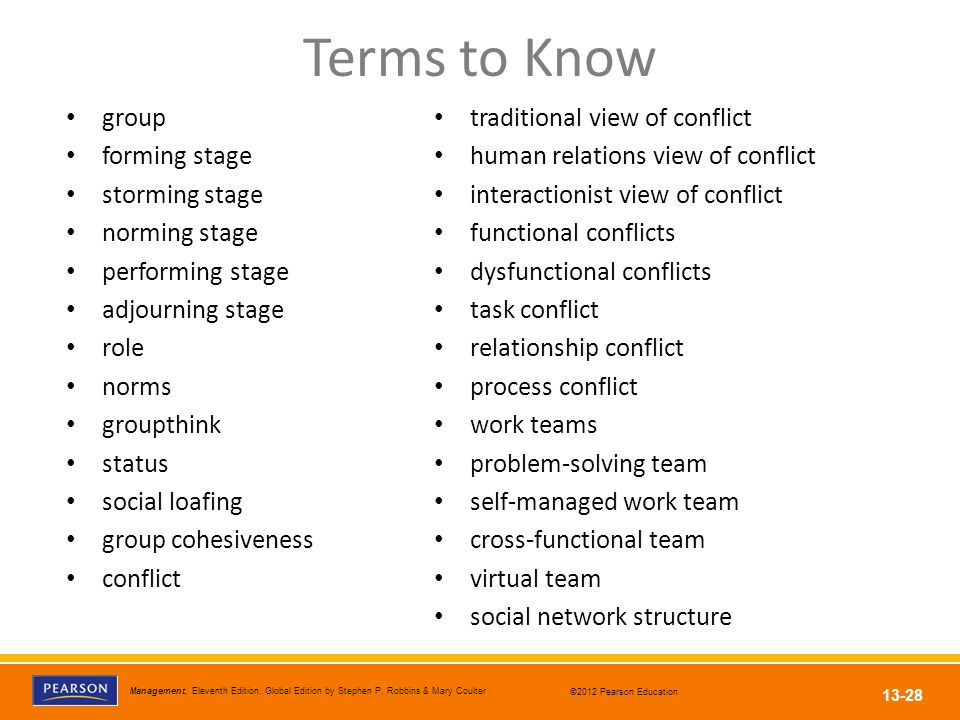 Terms to Know group forming stage storming stage norming stage