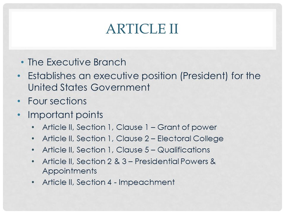 article 2 presidential powers