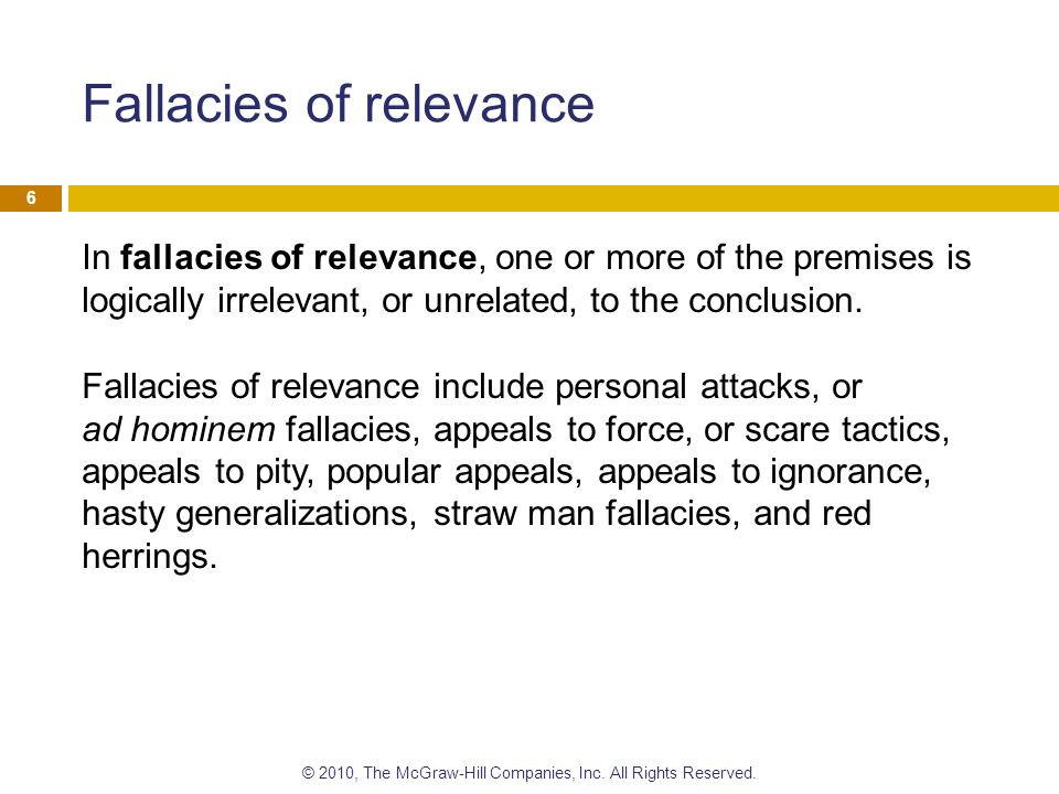 the fallacy of relevance Take the quiz: find the fallacies: fallacies of relevance this quiz includes examples of fallacies of relevance your job is to determine which fallacy is.