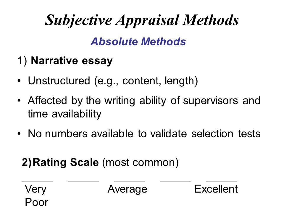 absolute appraisal method essay