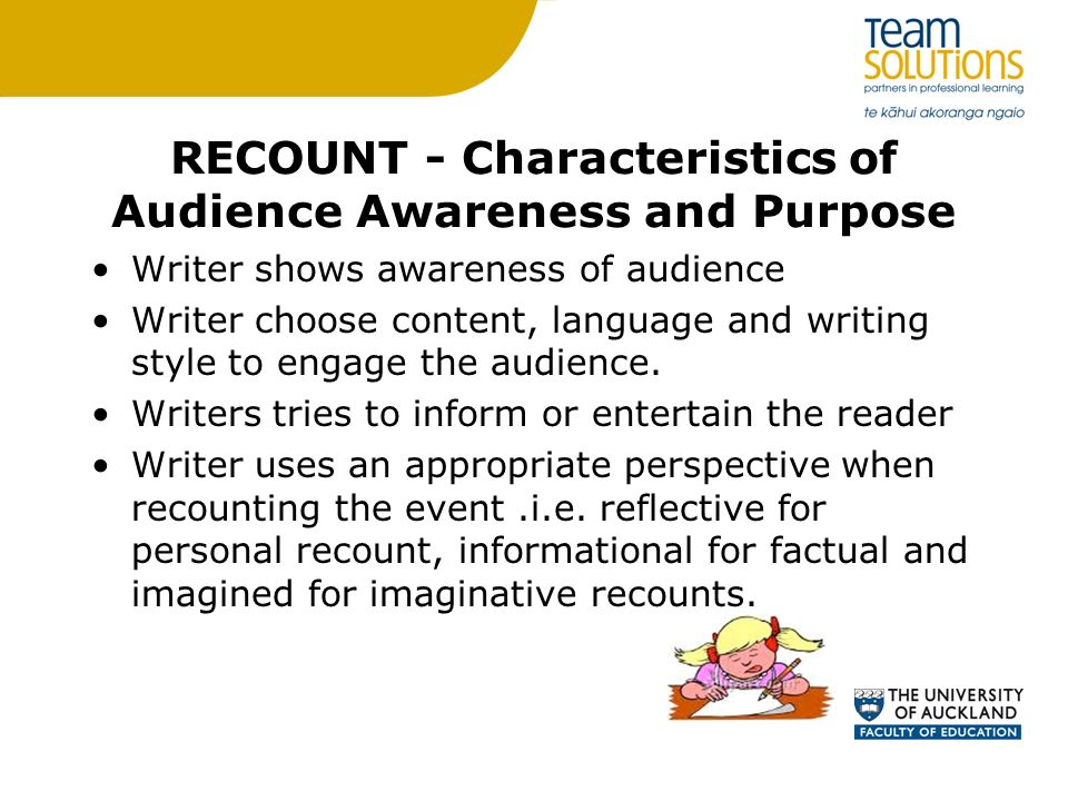 reflective recounts Textual types refer to the following four basic aspects of writing: descriptive,  narrative,  narratives sequence people/characters in time and place but differ  from recounts in that through the sequencing, the stories set up one or more  problems,.