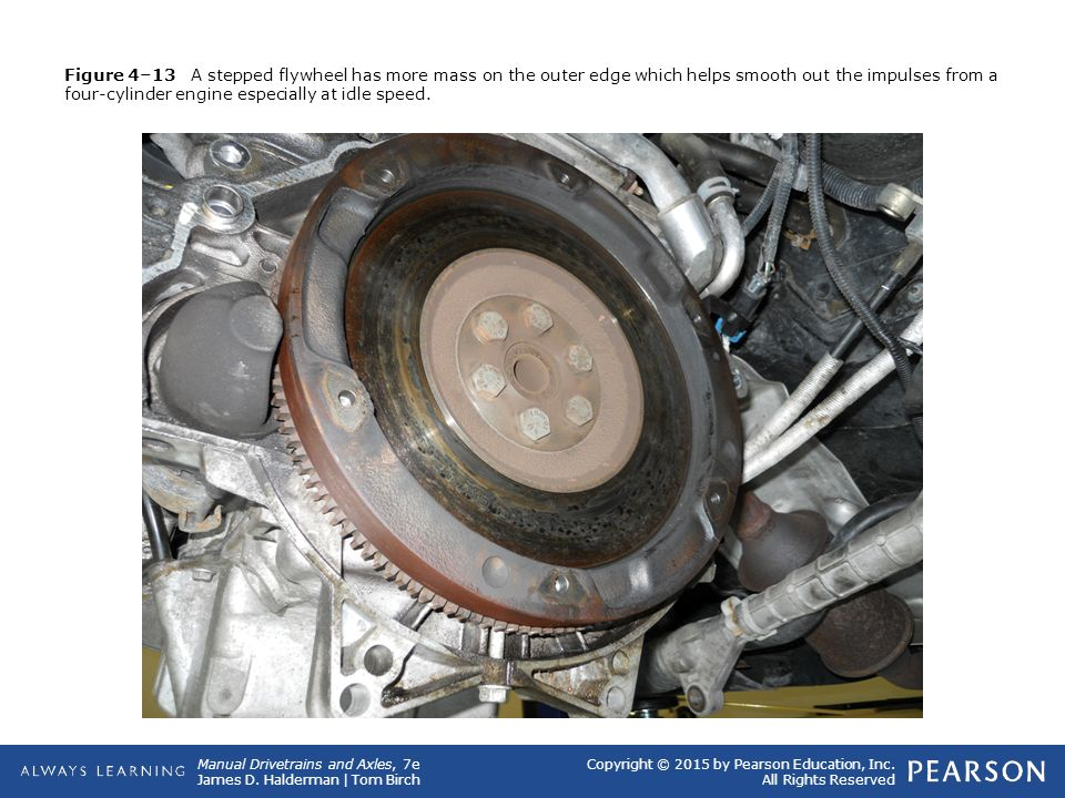 Figure 4–13 A stepped flywheel has more mass on the outer edge which helps smooth out the impulses from a four-cylinder engine especially at idle speed.