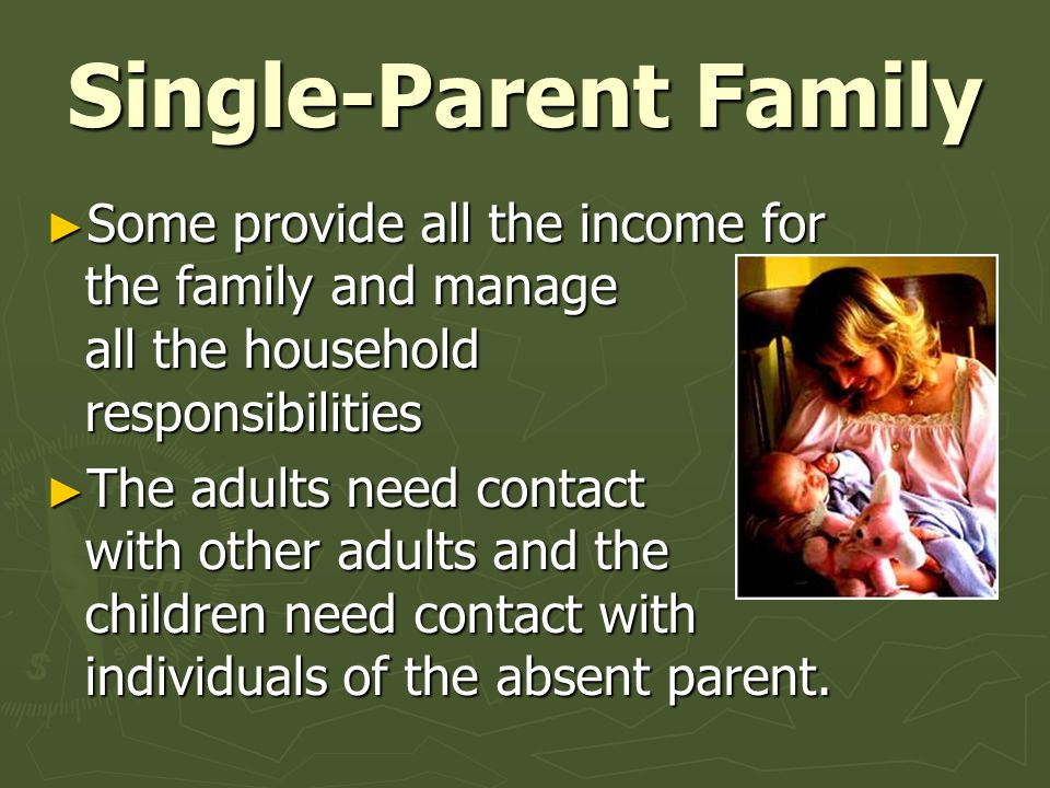 Single-Parent Family Some provide all the income for the family and manage all the household responsibilities.