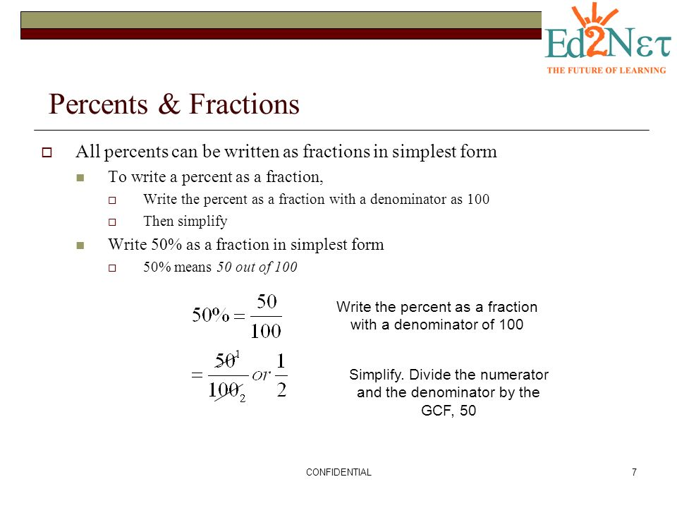 writing percents as fractions A key stage 3 revision and recap resource for maths, covering converting between fractions, decimals and percentages.