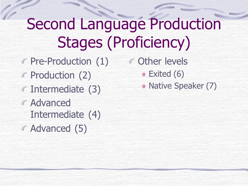 the advanced language proficiency stage essay Language proficiency stage  advanced bics intermediate fluency  ( or up to 10 when not receiving native language support)  essay writing.