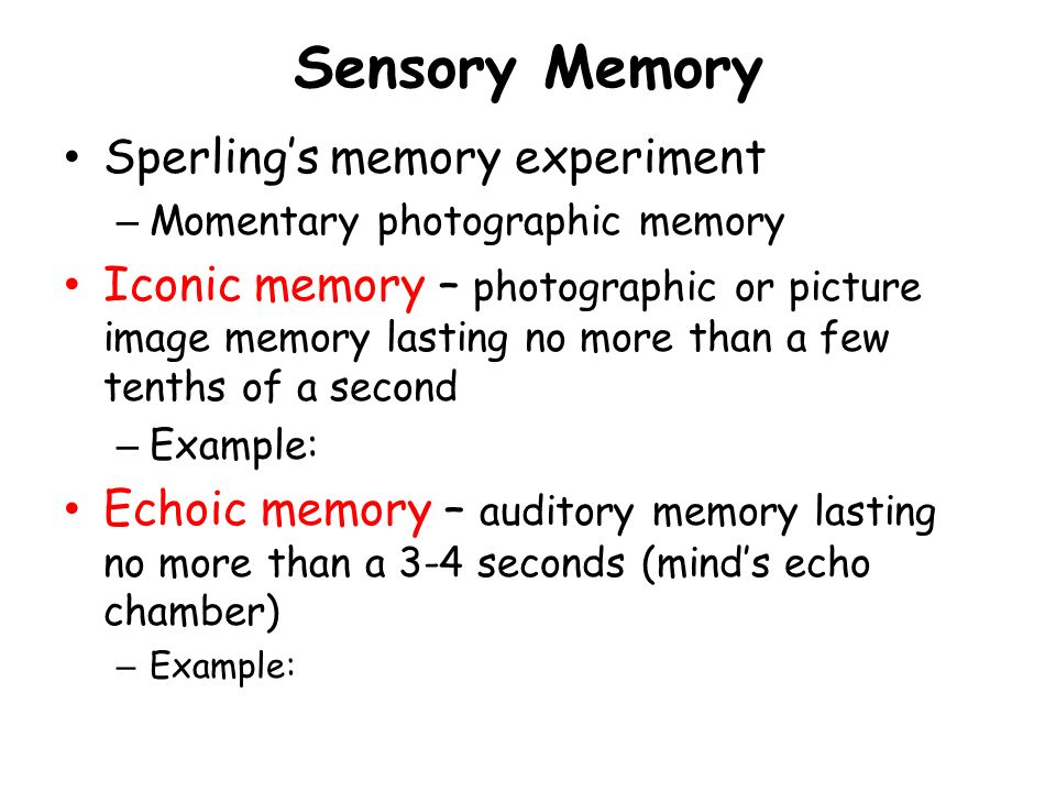 Examples of Iconic Memory