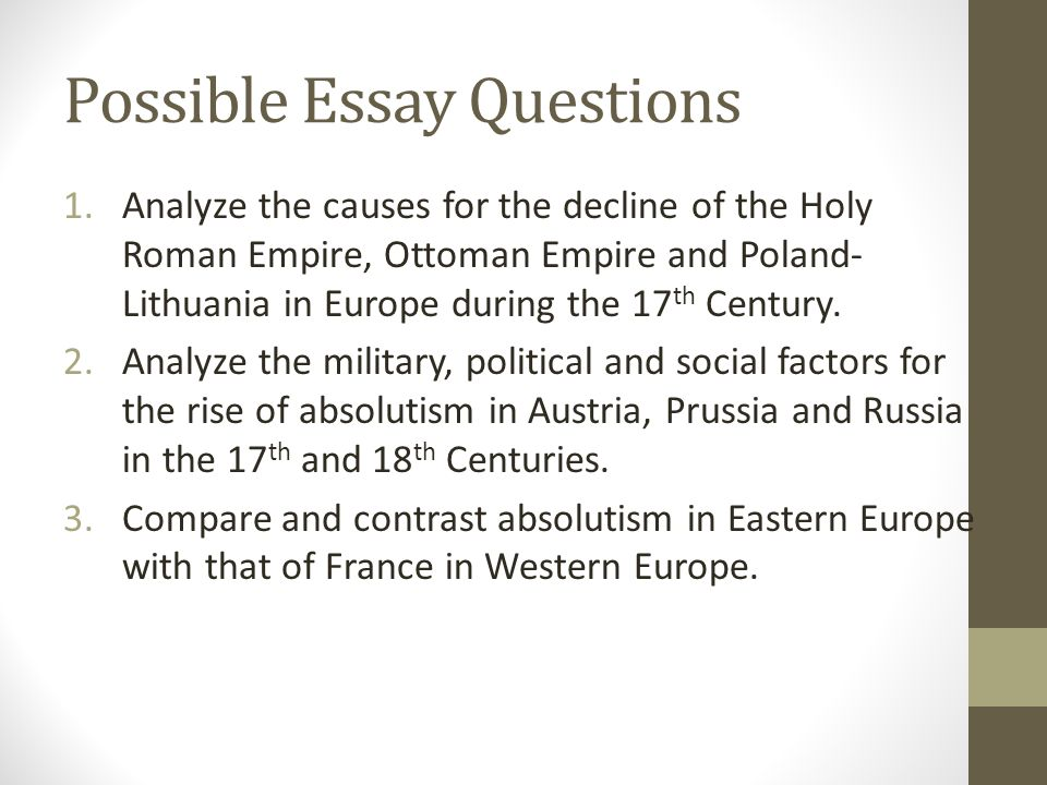 absolutism in eastern europe ppt video online  possible essay questions