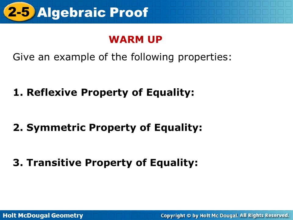The gallery for --> Reflexive Property Of Equality