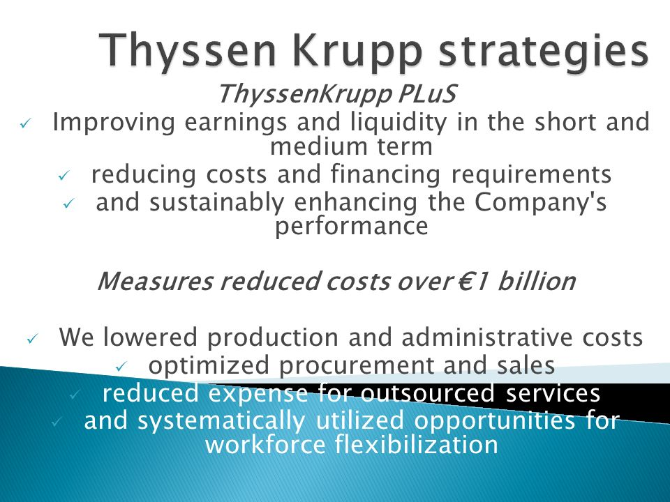 Thyssen Krupp strategies